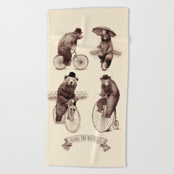Bears on Bicycles Beach Towel