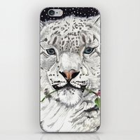 snow leopard iPhone & iPod Skins featuring Snow Leopard by Shelli Graham