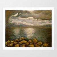 Clouds Over Lake Tahoe Painting Art Print