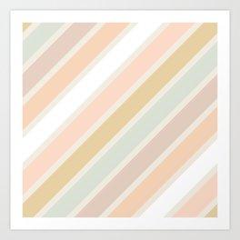 Retro Diagonal Stripes in Pastel Champagne Art Print