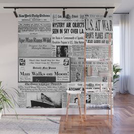 Vintage News Headlines Wall Mural