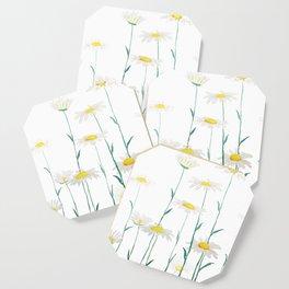 white daisy watercolor horizontal Coaster