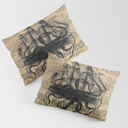 Octopus Kraken attacking Ship Antique Almanac Paper Pillow Sham