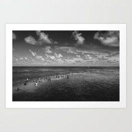 People at the middle of sea, João Pessoa - Brasil Art Print