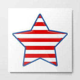 Patriotic Star Blue Border Red and White Stripes Metal Print