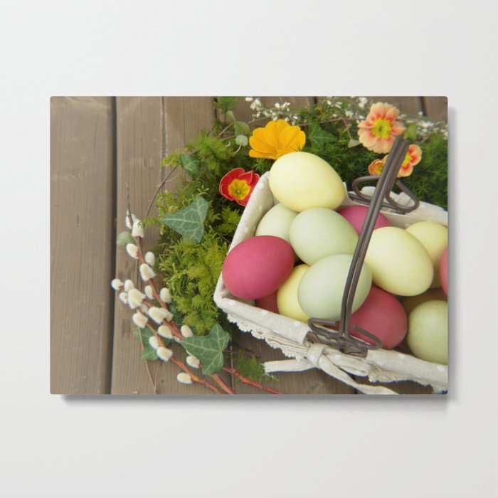 Easter Eggs in Basket - Cafe or Restaurant Decor Metal Print