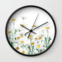 white margaret daisy horizontal watercolor painting Wall Clock