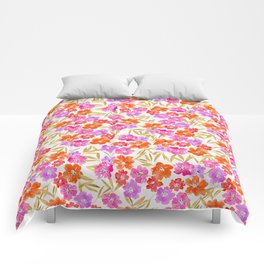 Spring Blooming Flower Pattern Pink Retro Comforters