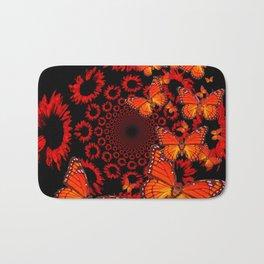 Awesome Decorative Monarch Butterflies on Black Bath Mat