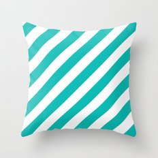 Diagonal Stripes (Tiffany Blue/White) Throw Pillow
