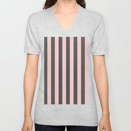 Millennial Pink Blush Coco Brown Neapolitan Stripes Pattern Unisex V-Neck