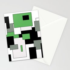 Squares - green, gray, black and white. Stationery Cards