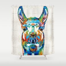 Colorful Llama Art - The Prince - By Sharon Cummings Shower Curtain