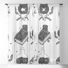 witch craft items pattern Sheer Curtain