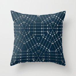Navy Silver Arrow Geometric Pattern Throw Pillow