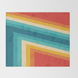Colorful Retro Stripes  - 70s, 80s Abstract Design Throw Blanket