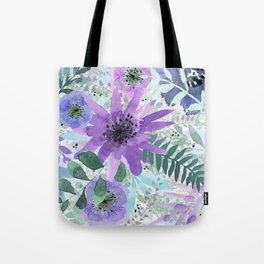 Spring Floral with Purples and Blues Tote Bag