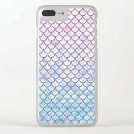Pastel Mermaid Scales Pattern Clear iPhone Case