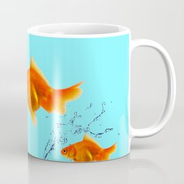 THREE GOLDFISH IN AQUA WATER ABSTRACT ART Coffee Mug