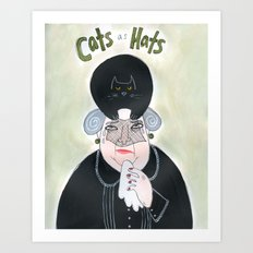 Cats as Hats - Lady in Mourning Art Print