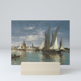 Emilio Ocón y Rivas Large Sailing Boat Leaving the Port of Seville with the Gold Tower in the Backgr Mini Art Print