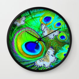 GREEN PEACOCK FEATHERS  & WHITE BUTTERFLIES FANTASY ART Wall Clock