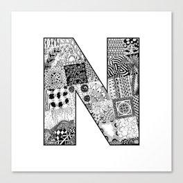 Cutout Letter N Canvas Print