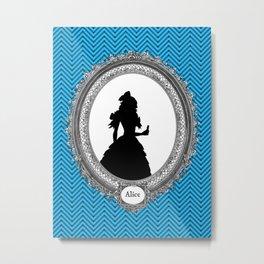 Alice's Adventures in Wonderland Silhouette Alice Metal Print