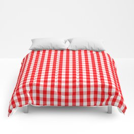 Large Christmas Red and White Gingham Check Plaid Comforters