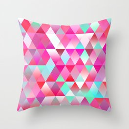 Chic Bright Pink Colors Funky Retro Triangles Mosaic Pattern Throw Pillow