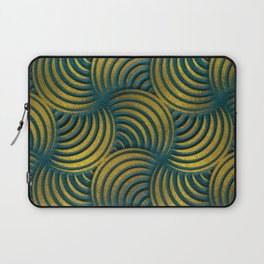 Teal Leather and Gold Circulate Wave Pattern Laptop Sleeve