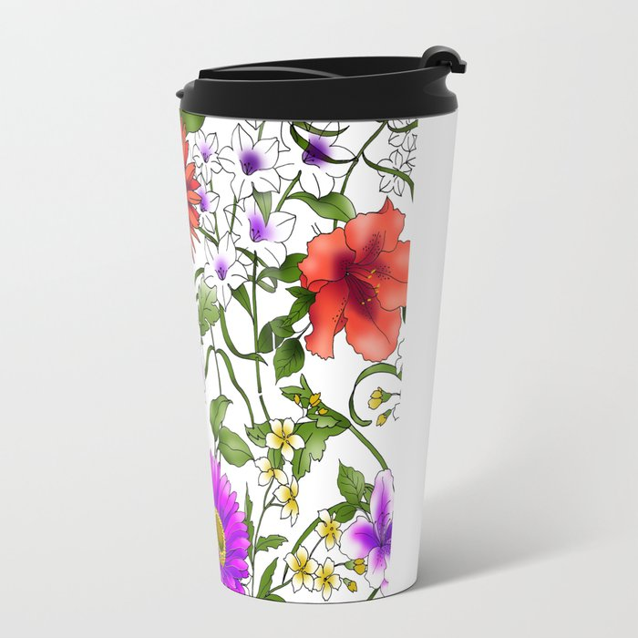 Watercolor Botanical Border Travel Mug