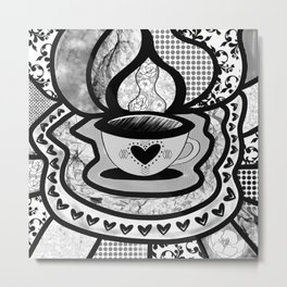 Abstract Black and White Teacup Collage Metal Print