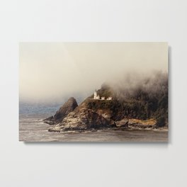 light house in the mist Metal Print