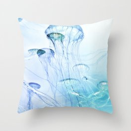 Jellyfish Double Exposure Throw Pillow