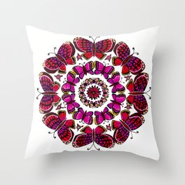Butterfly Mandala Throw Pillow