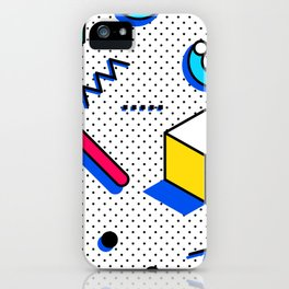 Patern in memphis, pop art style iPhone Case