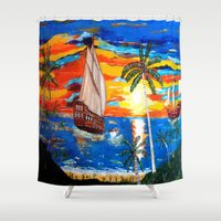 pirates Shower Curtains featuring PIRATES by Aat Kuijpers