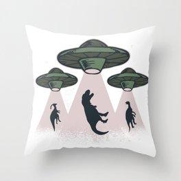 Ufo dinos  Throw Pillow