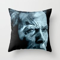 clint eastwood Throw Pillows featuring Clint Eastwood by artbyolev