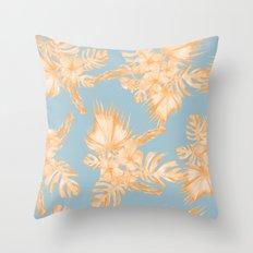 Hawaiian Hibiscus Palm Deep Orange Sky Blue Throw Pillow