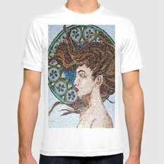 Nouveau - Mixed Glass Mosaic White MEDIUM Mens Fitted Tee