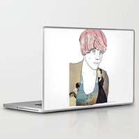 introvert Laptop & iPad Skins featuring introvert girl by Katharina Nachher
