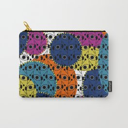 Ethnic style pattern wax, geometric abstract shapes colorful, large round purple, khaki, blue,orange Carry-All Pouch