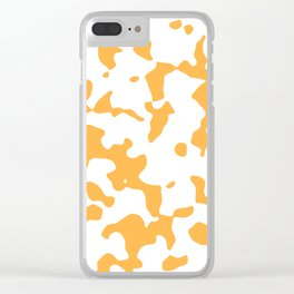 Large Spots - White and Pastel Orange Clear iPhone Case