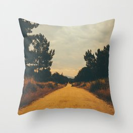 Vintage Faded Dusty Country Dirt Road Throw Pillow