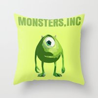 monster inc Throw Pillows featuring Monsters, Inc by FunnyFaceArt