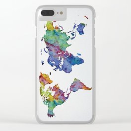 Multicolor World Map 03 Clear iPhone Case