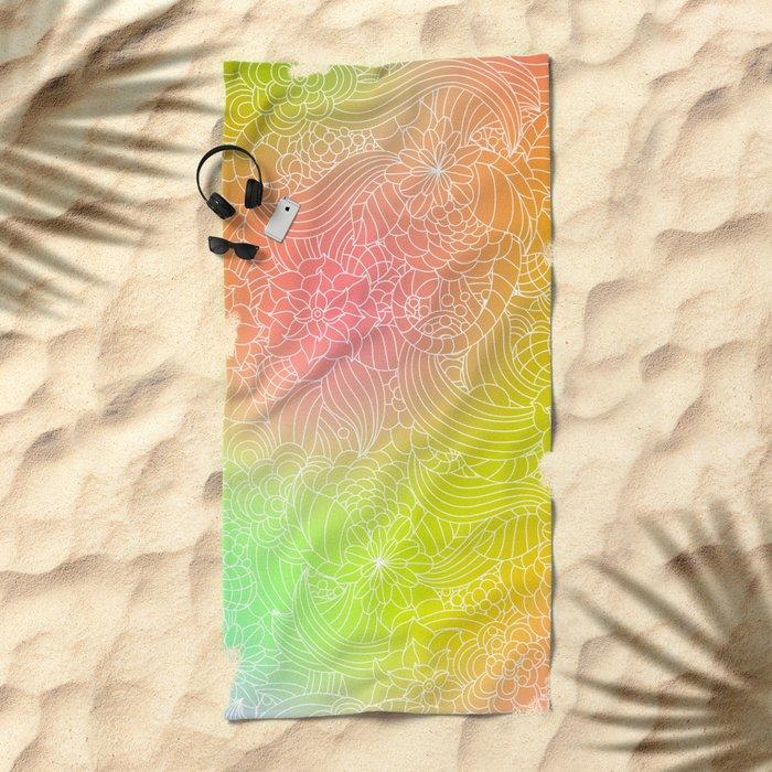 Romantic floral fantasy Beach Towel