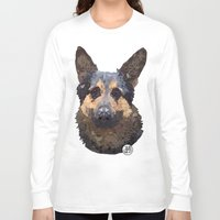 german Long Sleeve T-shirts featuring German Shepherd by ArtLovePassion